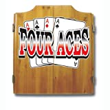 Trademark Global Four Aces Dart Cabinet Includes Darts and Board
