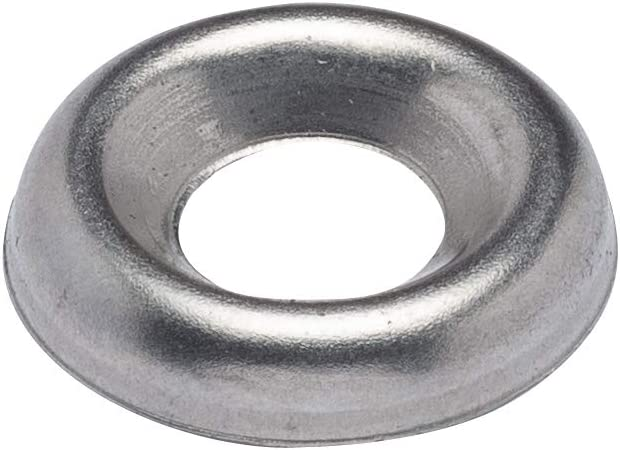 #10 Stainless Cup Countersunk Finish Washer, (100 Pack) - Choose Size, durch Bolt Dropper, 18-8 (304) Stainless Steel