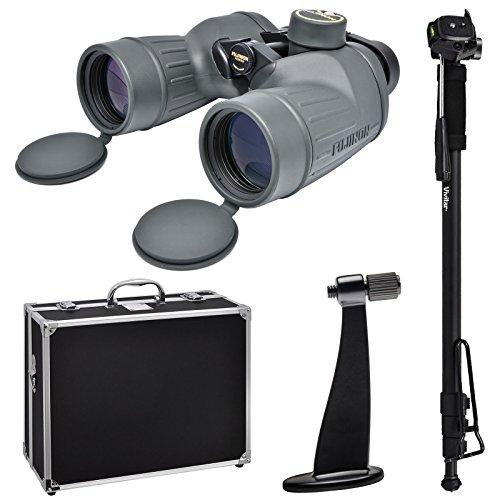 Fujifilm Fujinon Polaris 7x50 FMTRC-SX Waterproof/Fogproof Binoculars with Compass with Hard Case + Monopod + Tripod Adapter