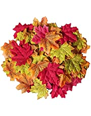 100 Pcs Artificial Maple Leaves, Fake Fall Autumn Leaf for Indoor, Outdoor, Family, Art Scrapbook, Wedding, Christmas, Halloween, Thanksgiving, Holiday Event Decoration (Mixed Color)