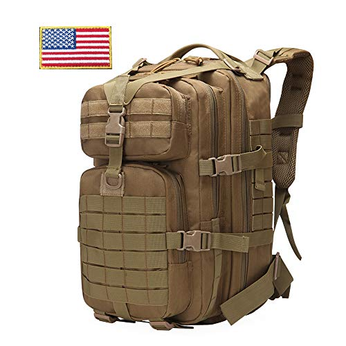 FAMI 33L Military Tactical Backpack Large Assault Pack 3 Day Army Rucksacks Molle Bug Out Bag Outdoors Hiking Daypack Hunting Backpacks-Tan