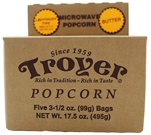 Troyer Amish Microwave Ladyfinger Butter Popcorn, Five (5) 3.5 Ounce Bags ()