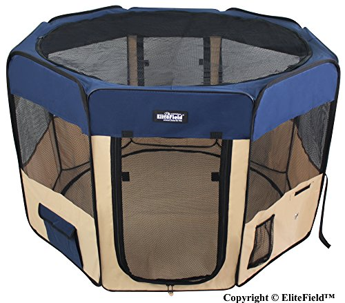 EliteField 2-Door Soft Pet Playpen, Exercise Pen, Multiple Sizes and Colors Available for Dogs, Cats and Other Pets (52″ x 52″ x 32″H, Navy Blue+Beige)