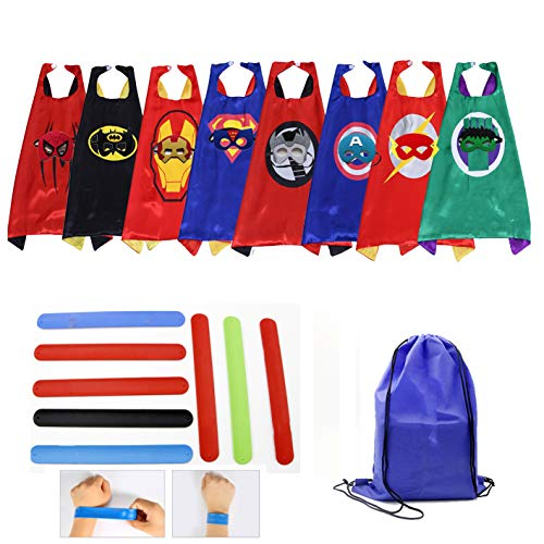 Kids Dress Up Costumes Cartoon 8 Satin Capes and Masks Set with Slap Bracelets for Children Birthday Party Game Supplies -