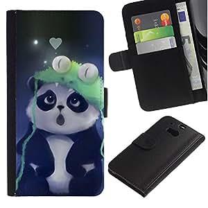 YiPhone /// Tirón de la caja Cartera de cuero con ranuras para tarjetas - Cute Panda - HTC One M8