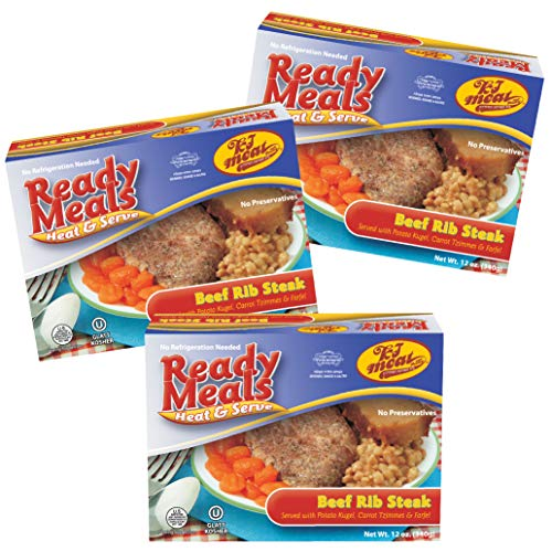 Kosher Meals Ready to Eat, Beef Rib Steak served with Potato Kugel Carrot Tzimmes and Farfel (Microwavable, Shelf Stable, No Refrigeration) - Dairy Free - Glatt Kosher (12 ounce - Pack of 3)