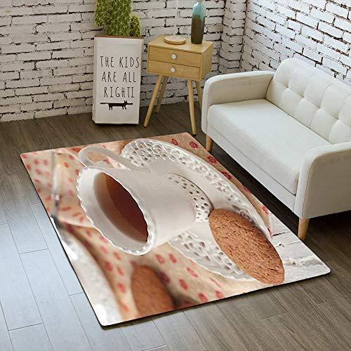 - Door Mat Indoor Rugs Bathroom WC Bedroom Floor Mats Home Decor Rug,Cup Tea Oatmeal Cookie,Living Room Carpets