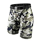 EU Men's Compression Shorts Running Tights Base Layer Camo Green Large
