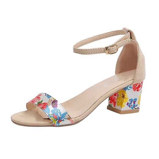 304fe1344367 Warmshop Women shoes AOP❤️Women s Fashion Sandals Buckle Strap High Heels  Open Toe Work US Size