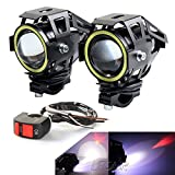 LEDUR Motorcycle Headlight Led Lights U7 DRL Fog Driving Running Light Front Spotlight with Angel Eyes Light Ring Hi/Lo Strobe Flashing White Light(2PCS,White Halo)