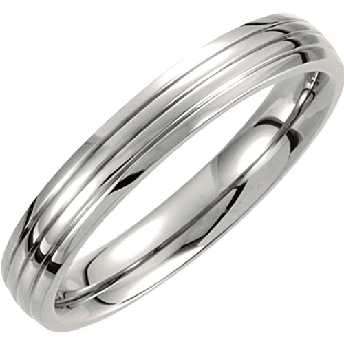 Titanium 4mm Comfort Fit Three Grooved Half Dome Ring, Size 12 by The Men's Jewelry Store (Unisex Jewelry)