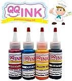 Premium Edible Ink Refill Kit for Canon Printer - 2 oz Bottles (BK / C / Y / M) by QQink