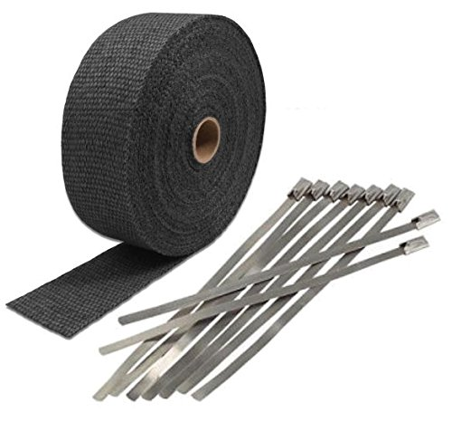Black LAVA EXHAUST PIPE HEAT WRAP 2'' x 50' MOTORCYCLE HEADER INSULATION