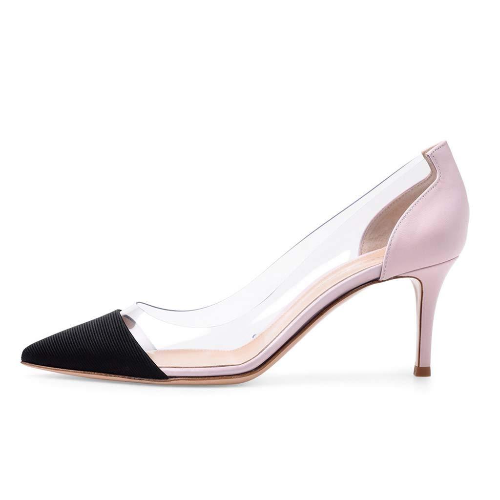 PVCステッチ尖ったハイヒールの靴大きいサイズレディースシューズファッションシューズ B