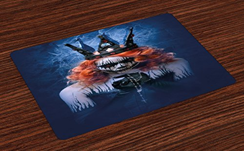 Ambesonne Queen Place Mats Set of 4, Queen of Death Scary Body Art Halloween Evil Face Bizarre Make up Zombie, Washable Fabric Placemats for Dining Room Kitchen Table Decor, Navy Blue Orange Black -