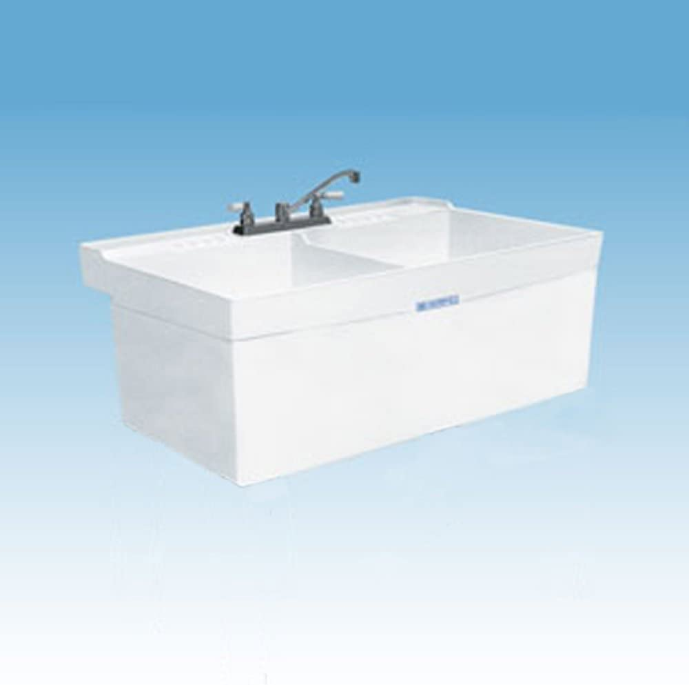 Mustee 26W Composite 2-Basin Wall Mount Tub Utility Sink with Drain, White
