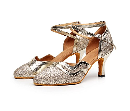 Minishion Stängd Tå Ankelbandet Glitter Tango Salsa Latin Balsal Dansskor Kväll Prom Pumpar Guld 7.5cm Häl