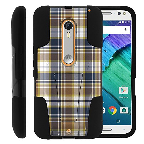 MINITURTLE Case Compatible w/Motorola Moto X Style, Silicone Gel and PC Strike Impact Stand Case w/Dazzling Designs for XT1572 Blue Brown Checker Plaid ()