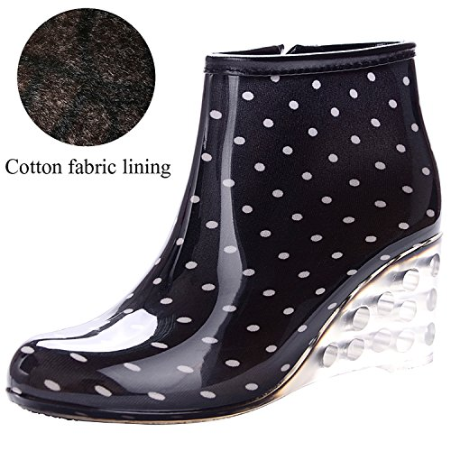 Odema Women's Ankle High Rain Boots Side Zipper Wedge High Heel Waterproof Shoes Winter Snow Wellies Bootie