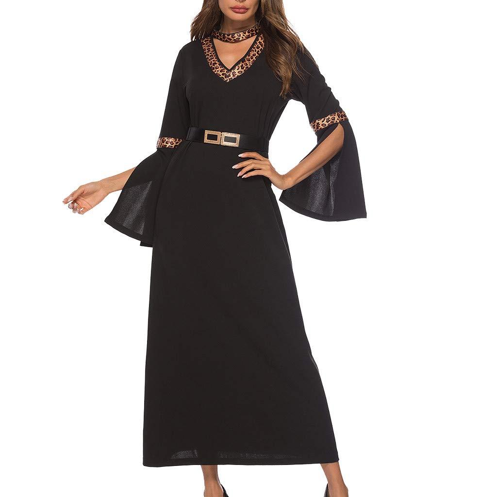 Women's Vintage Leopard Print Half Sleeve Ladies V-Neck Ankle-Length Dress Black