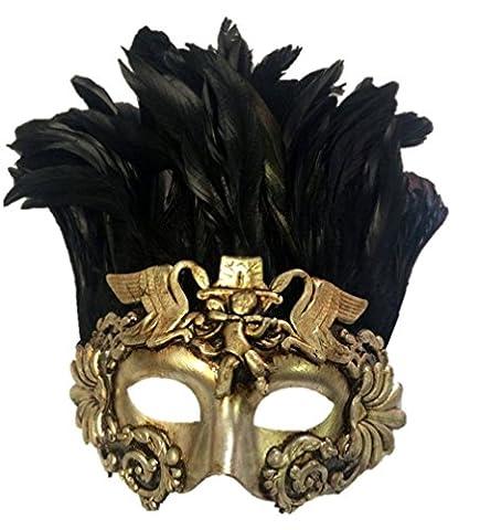 Venetian Antique Silver Gold Half Mask Mardi Gras Feathers Angel Cherub Roman (Cherub Mask)