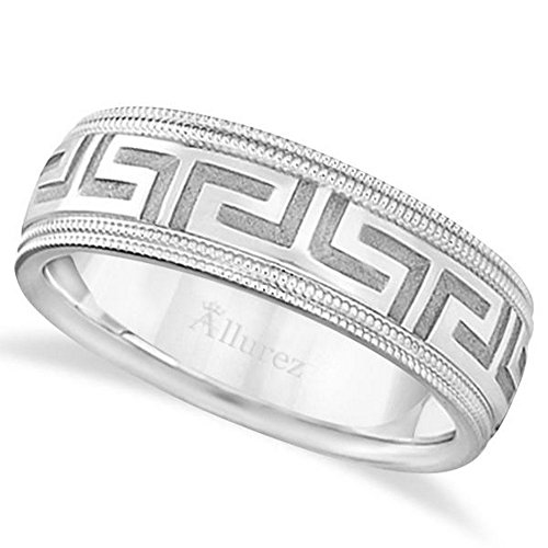 Unique Diamond Cut Ring Carved Greek Key Wedding Band For Men in 18kt White Gold (7mm) Wide Band -