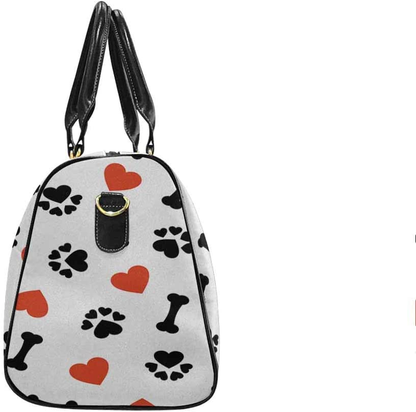 InterestPrint Carry-on Garment Bag Travel Bag Duffel Bag Weekend Bag Dog Bone Paw Print and Red Heart