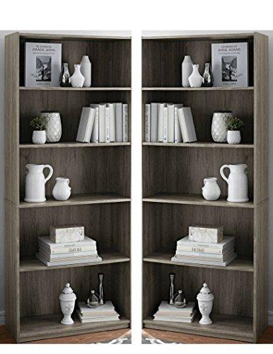 - Mainstay` Pack of 2 Rustic Oak 5-Shelf Wood Bookcase