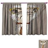 cobeDecor Indie Waterproof Window Curtain Sketch Portrait Funny Modern Ostrich Bird Yellow Eyeglasses