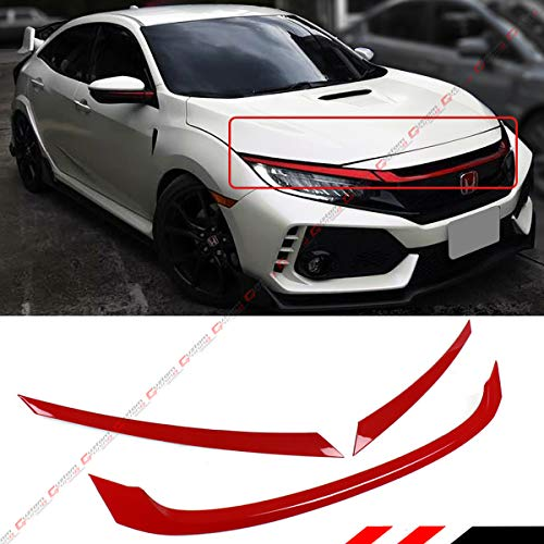 Fits for 2016-2018 Honda Civic JDM Glossy Red ABS Front Grill Tirm Cover Ganish – 3 Pieces