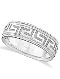 Comfort Fit Carved Greek Key Wedding Band Diamond Cut Ring For Men in Palladium(7mm) Wide Band