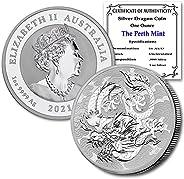 2021 AU Australia Myths & Legends 1 oz Silver Dragon Coin Brilliant Uncirculated (in Capsule) with Certifi