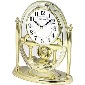RHYTHM - Reloj de mesa con péndulo de cristal dorado