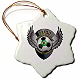3dRose orn_158033_1 Brasil Soccer Ball with Crest Team Football Brazil Brazilian Porcelain Snowflake Ornament, 3-Inch