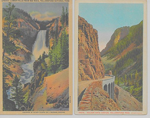 6 Yellowstone National Park Wyoming scenic views some linen antique pc Z8703