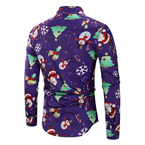 Uomo A Il Fashion Babbo 3d Success Tempo Camicetta Per Maniche Natale Viola Da Bottoni Camicia Digitale Stampa Lunghe In Libero Con Natalizia xUtx0EwP
