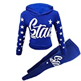 New Girls Star Print Hooded Top & Bottom Set Kids Tracksuit Loungwear UK Age 7-13 Years (Royal Blue, 9-10 Years)
