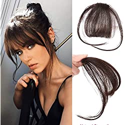 Reysaina One Piece Hair Bangs with Temple Clip in Bangs Dark Brown Straight 100% Human Hair Fringe Extension