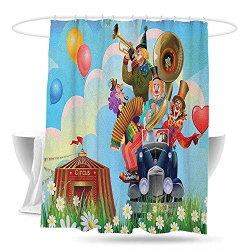 Bathroom Shower Curtain Circus Clowns Vintage Car Circus Big top Daisies Flowers Heart in Meadow Fun Design Art Shower Curtains in Bath 59in×70in Multicolor