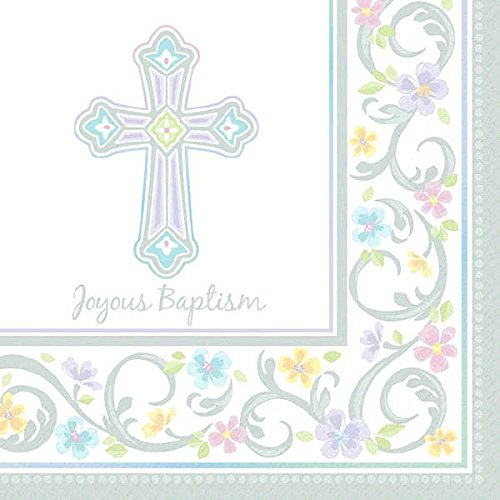 Amscan Blessed Day Baptism Party Luncheon Napkins Tableware, Paper, 6 X 6, Pack of 36 Party Supplies -