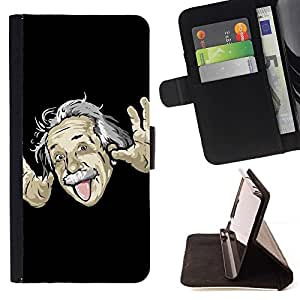 Momo Phone Case / Flip Funda de Cuero Case Cover - Divertido Einsten Face Tongue - Samsung Galaxy J3 GSM-J300