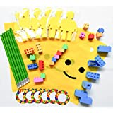 54 Pieces - Complete Building Blocks (Bricks) Theme Favors With Mini Figure Cutout Sticky Notepad, Pencil, Easers, Sharpener, Sticker, and Bag