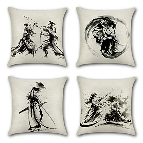 """Artscope Set of 4 Throw Pillow Covers Farmhouse Decorative Cotton Linen Cushion Covers Home Decor Pillow Cover for Sofa Car Living Room 18"""" x 18"""" (Martial Arts)"""