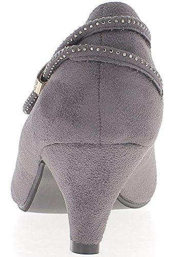 Gris de los zapatos tacón de gran tamaño 6cm ante mirada