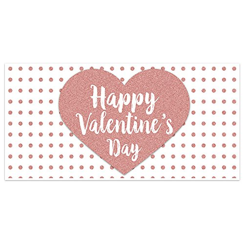 Rose Dots Valentines Day Banner Party Backdrop Decoration
