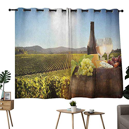 Homrkey Decorative Curtains for Living Room Wine White Wine with Barrel on Famous Vineyard in Chianti Tuscany Agriculture Green Brown Pale Blue Thermal Insulated Tie Up Curtain W63 xL72