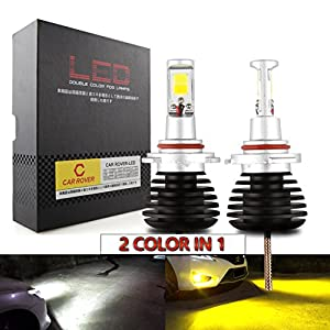 CAR ROVER H11 H8 H9 LED Fog Lights Lamps Replacement - Dual Color In 1 (6000K/3000K) - Pack of 2