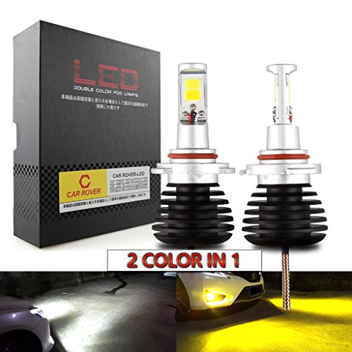 CAR ROVER H10 9005 9006 LED Fog Lights Lamps Replacement - Dual Color In 1 (6000K/3000K) - Pack of 2