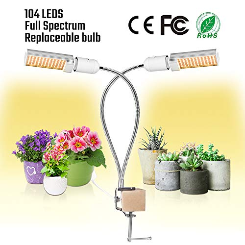 Sondiko Grow Light, 50W Sunlike Full Spectrum 104 LEDs Grow Lamp, Dual Head Gooseneck Plant Light with Replaceable Bulb, Double Switch for Indoor Plants