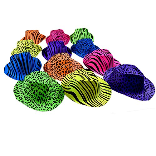 Original Gangster Hats - Cool Plastic Neon Vintage Animal Pattern Gangster's Hats 24 Pack for Kids and Adults BBQ?s | Birthdays | Concerts - Trendy Multicolored Novelty Rave Hats with Animal Prints